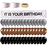 It is Your Birthday Banner, The Office Dwight Theme Infamous Husband Birthday Party Decorations, Brown Black Grey Balloon wit