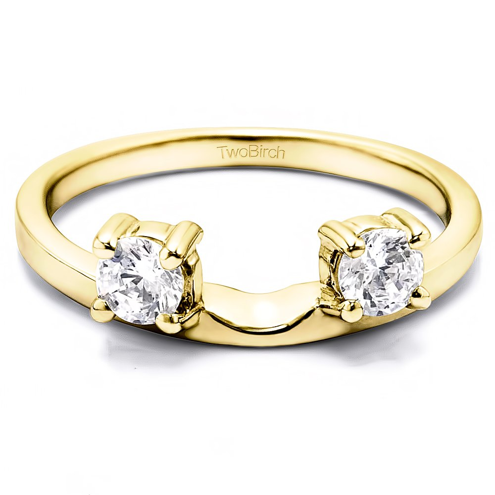 Diamond Wedding Ring Enhancer Mounted In Yellow Sterling Silver(0.14Ct)Size 3 To 15 in 1/4 Size Interval