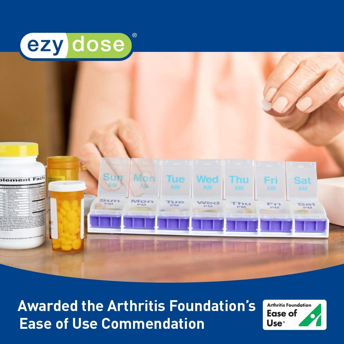 Ezy Dose Push Button (7-Day) Pill, Medicine, Vitamin Organizer Box | Weekly, 2 Times a Day, AM PM | Large Compartments | Arthritis Friendly | Clear Lids: Health & Personal Care