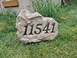 Front Yard Sign - address plate with 2 spikes - artificial stone style - 18