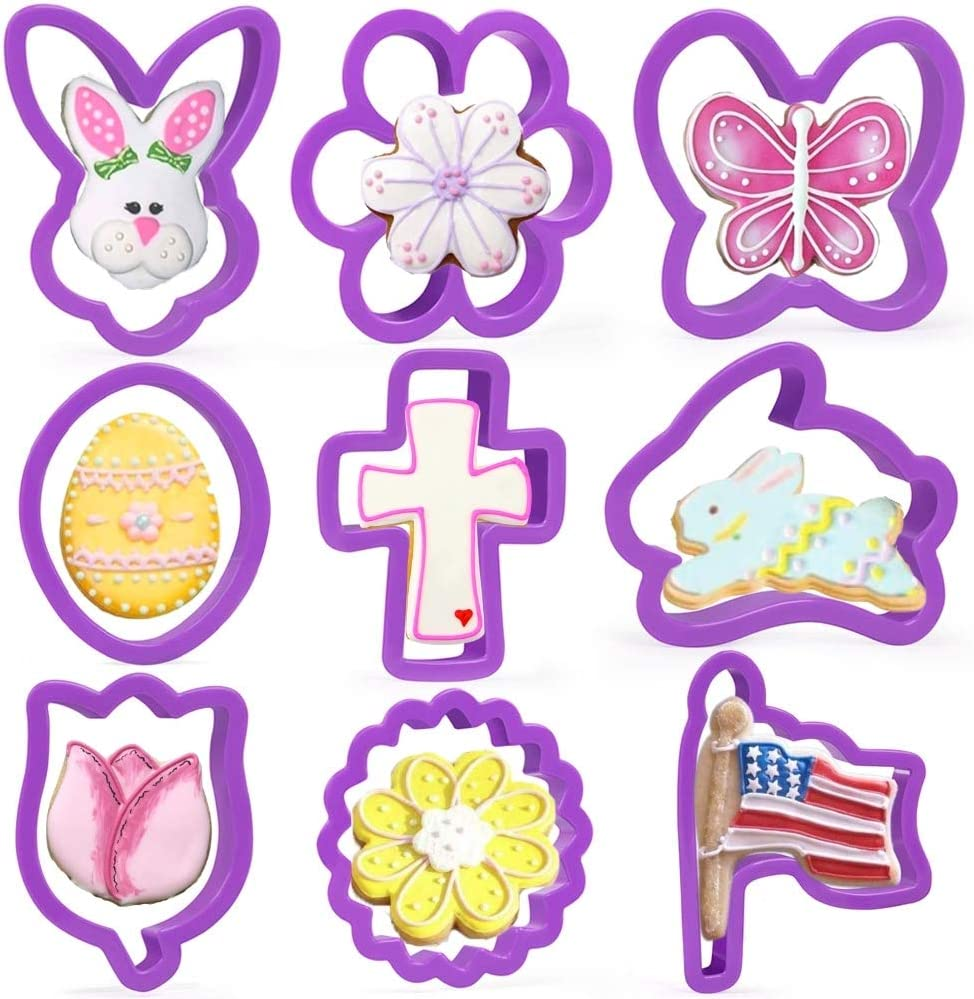 KAISHANE Easter Cookie Cutters Set - 9 Piece Plastic Easter Biscuit Cutters Egg, Bunny, Flower,Cross, lily, Flag, Bunny Face and Butterfly