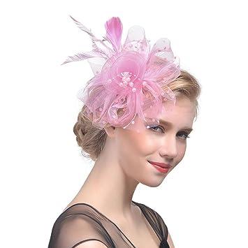 e63f6c1ec3c4f Xshuai Women Hat, Fashion Women Elegant Flower Mesh Ribbons Feathers  Headband Caps Bride Headwear for Wedding Cocktail Tea Party (Pink)