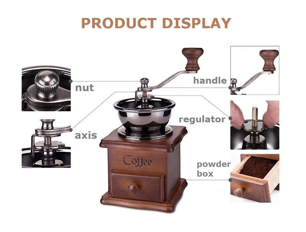 BourneTech Manual Coffee Grinder Retro Classic Coffee Grinder Hand Grinder Grinder Machine /…