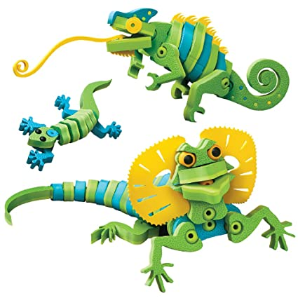 Bloco Toys Lizards & Chameleons | STEM Toy | Gecko, Reptiles Creatures |  DIY Building Construction Set (192 Pieces)