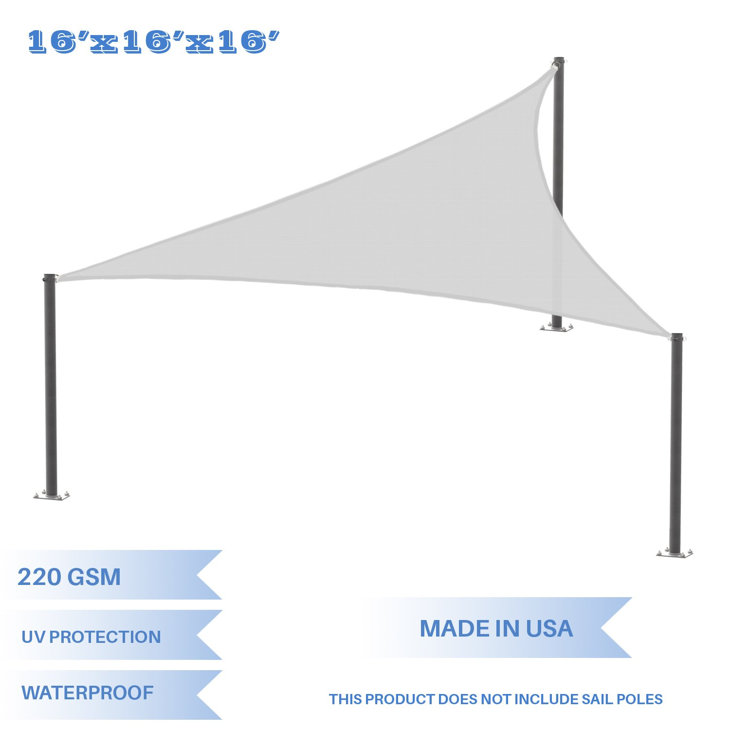 E&K Sunrise 16' x 16' x 16' Waterproof Sun Shade Sail-Light Grey Equilateral triangle UV Block Durable Awning Perfect Canopy Outdoor Garden Backyard-Customized
