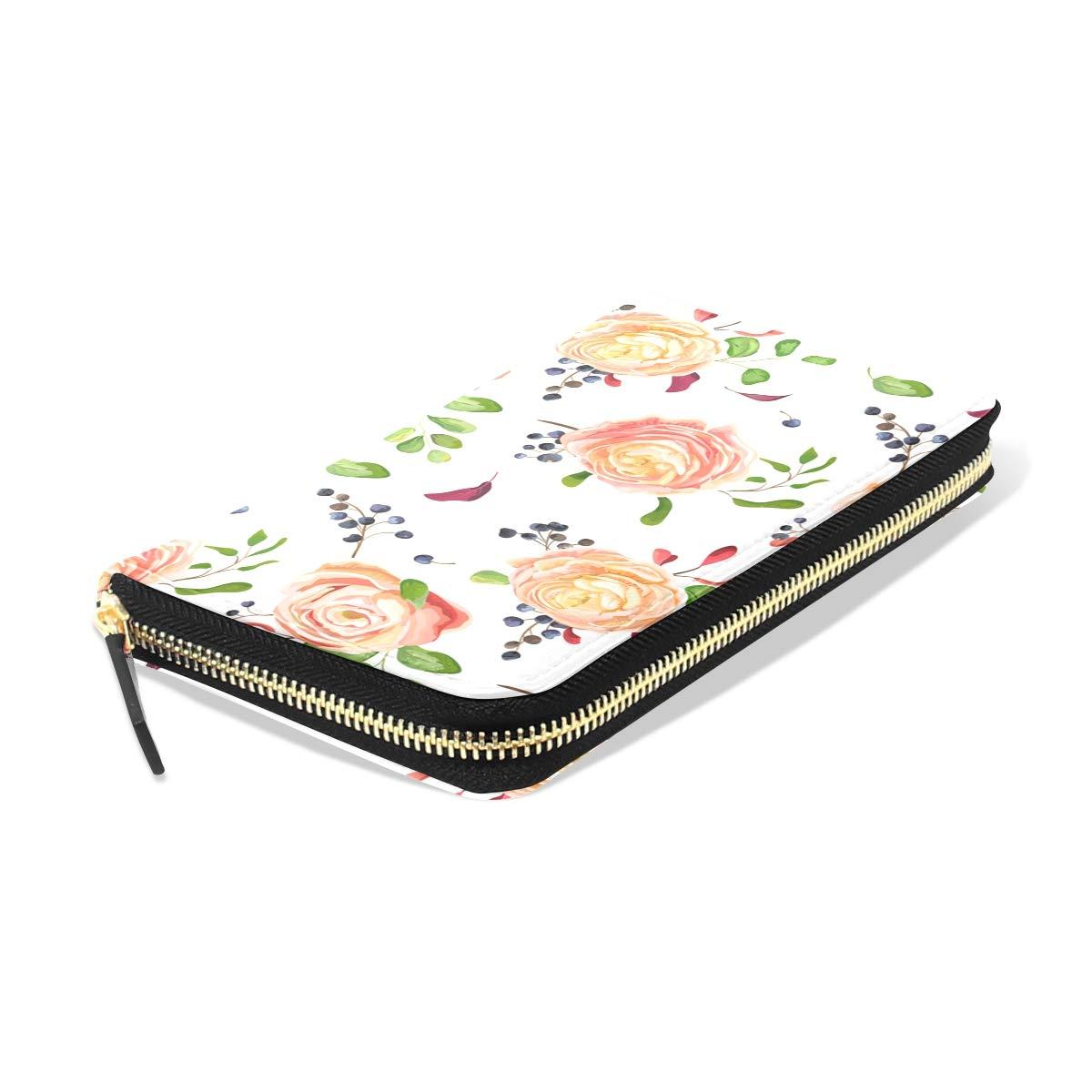 Women Pink Rose Ranunculus Leather Wallet Large Capacity Zipper Travel Wristlet Bags Clutch Cellphone Bag