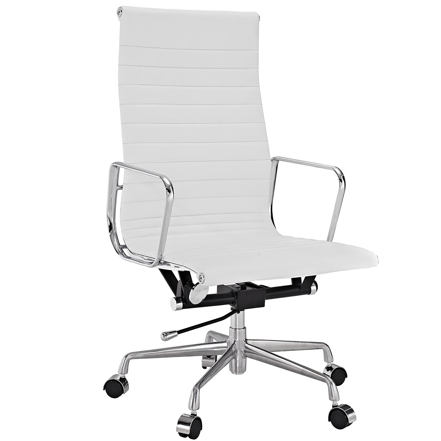 Amazon.com: Modway Ribbed High Back Office Chair In White Genuine Leather:  Kitchen U0026 Dining