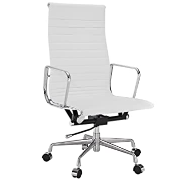 office chair genuine leather white. Modway Ribbed High Back Office Chair In White Genuine Leather K