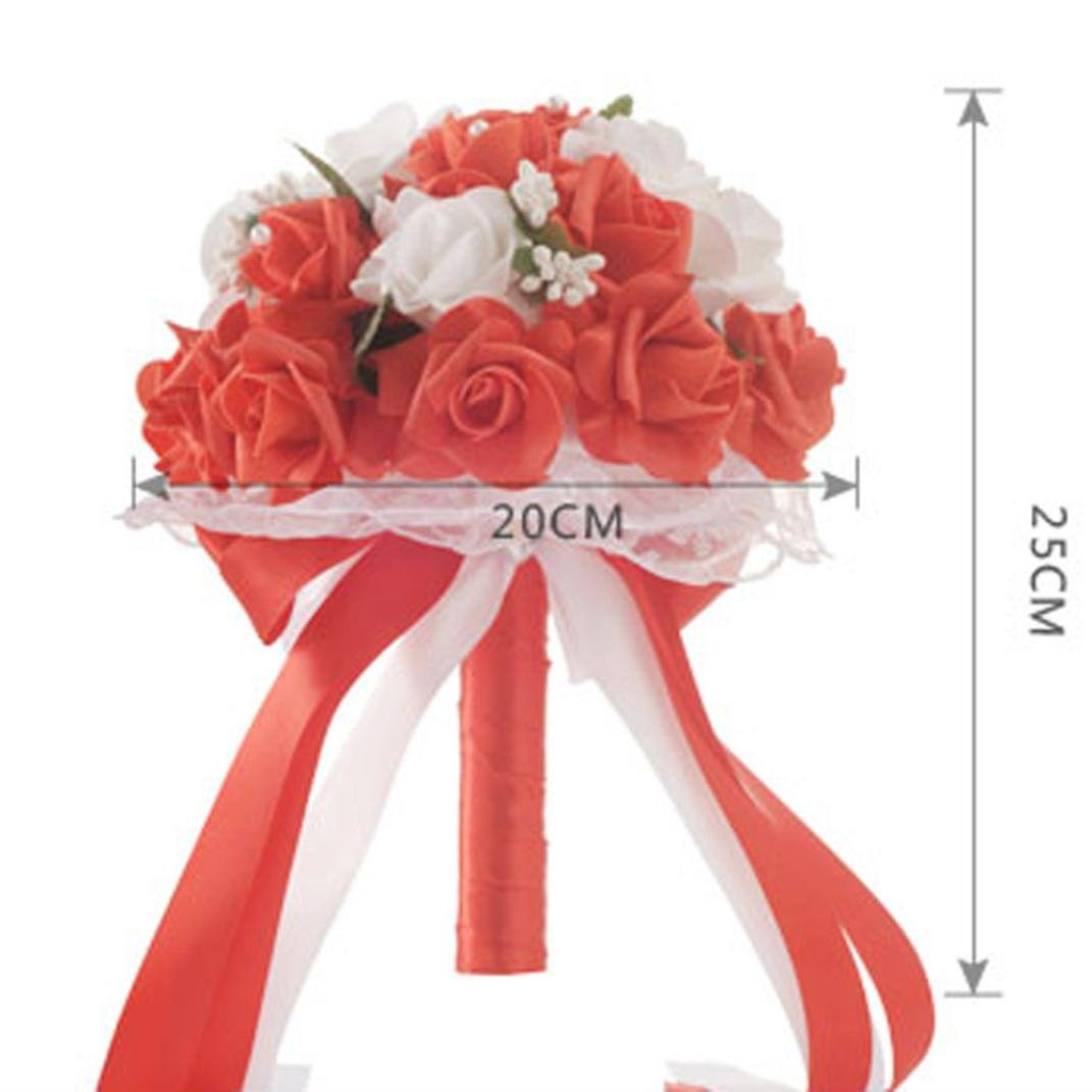 Hunpta Crystal Roses Pearl Bridesmaid Wedding Bouquet Bridal Artificial Silk Flowers Red Sprays