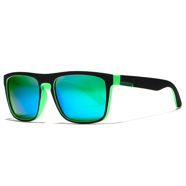 KDEAM Herren Sonnenbrille Medium Gr. Medium, Green Lens/Matte Black