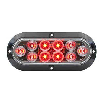 Grand General 77433 LED Light (Oval Mega10 Red/Clear with Black Flange and 3 Wires), 1 Pack: Automotive