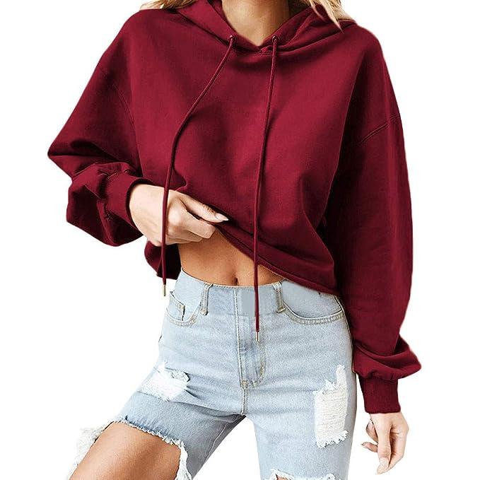 Mujer Sudaderas,TWBB Mujer Camisetas, TWBB Mujer Sudaderas con Capucha Casual Color Sólido Manga Larga Suelto Camisetas Blusa para Otoño Invierno: ...
