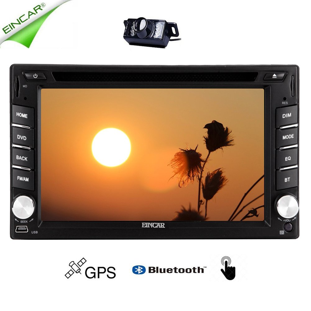 EinCar 6.2'' Capacitive Touchscreen in Dash Car DVD Player Double 2 din GPS Navigation Vehicle Automotive Car CD mp3 Media Player Car Stereo System for FM/AM Receiver with Bluetooth USB + Rear Camera