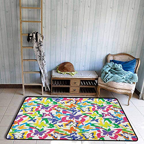- Living Room Rug,Butterfly Different Sized Butterfly Silhouettes Sense of Change Movement Lifestyle Art,Anti-Slip Doormat Footpad Machine Washable,4'11