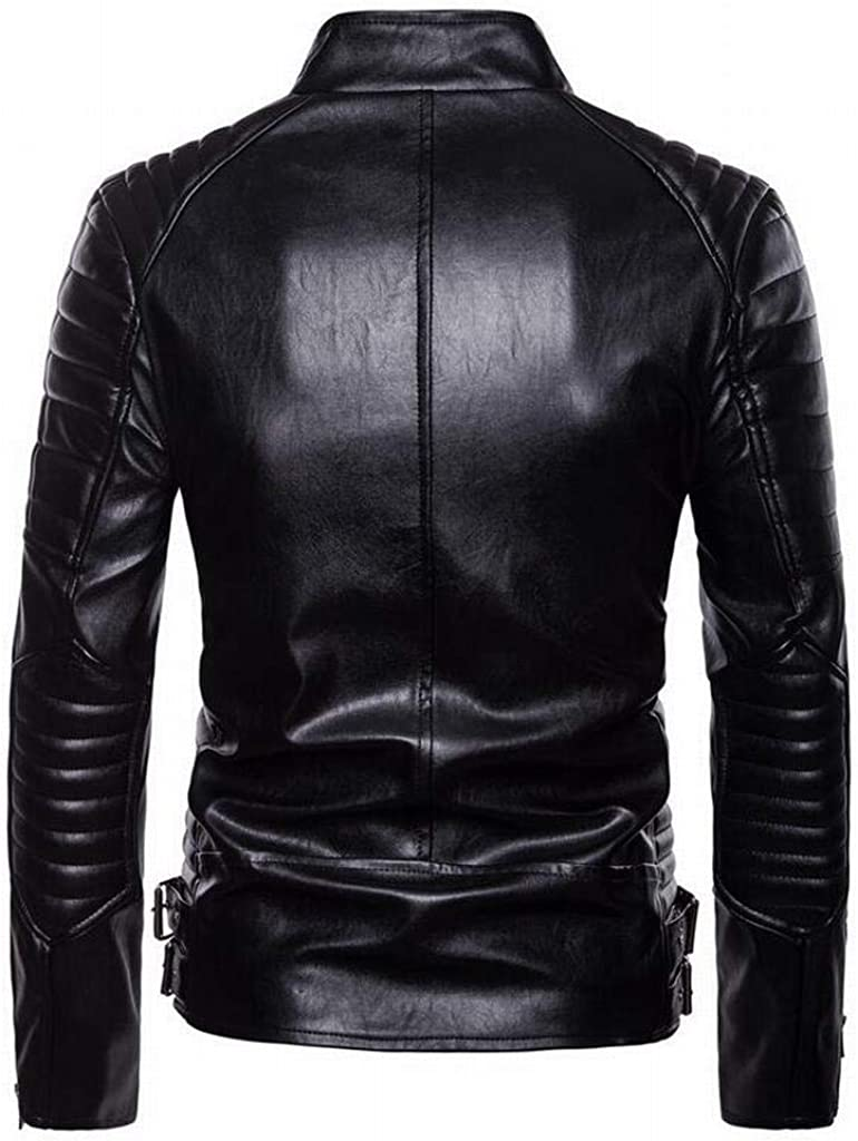 Heless Men Pu Faux Leather Moto Biker Slim Stand Collar Zip up Coat Jacket Outerwear