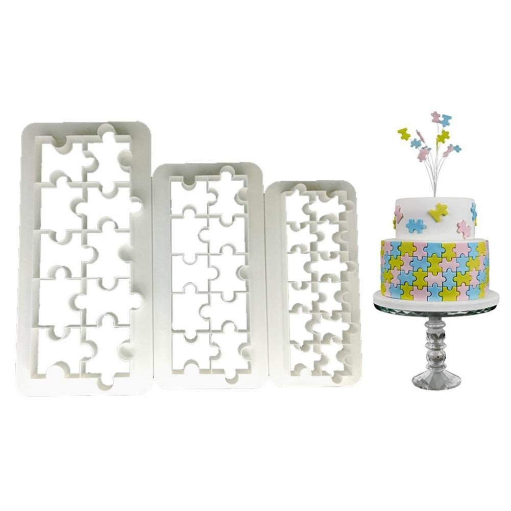 3PCS Impression Moule, Forme Géométrique De Forme De Puzzle Diy Moule d'Impression Pour La Cuisine,Moule à Fondant Forme Moule à Biscuits Moule, Outils De Boulangerie De Décoration De Gâteau Paul03Daisy