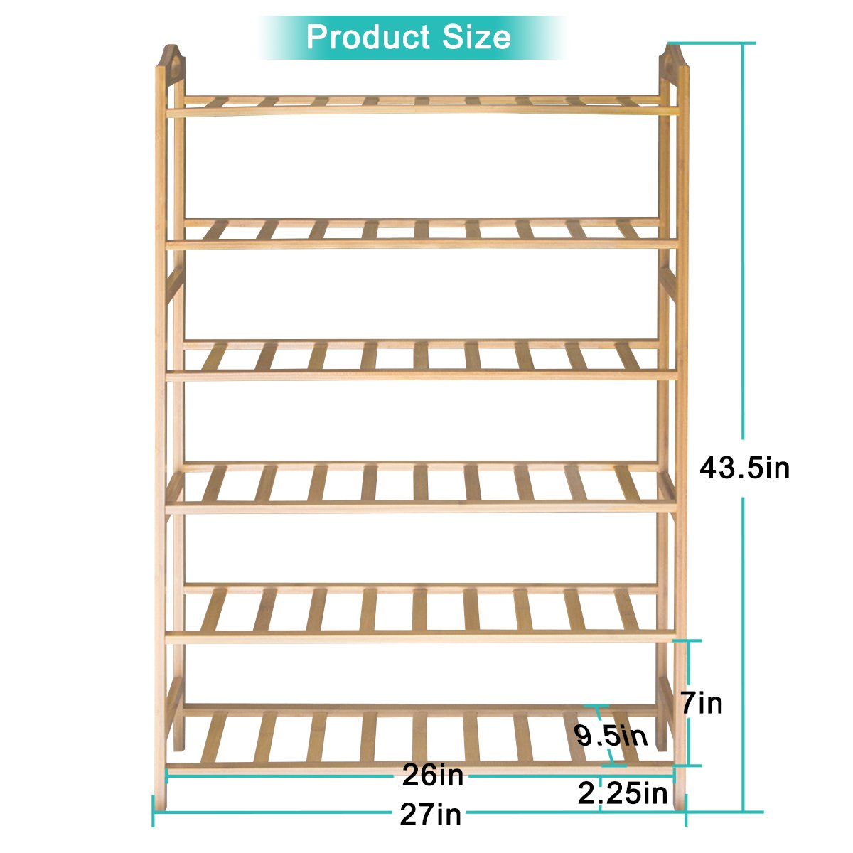 ANKO Bamboo Shoe Rack, 100% Natural Bamboo Thickened 6-Tier Mesh Utility Entryway Shoe Shelf Storage Organizer Suitable for Entryway, Closet, Living Room, Bedroom. (1 PACK) by ANKO (Image #3)