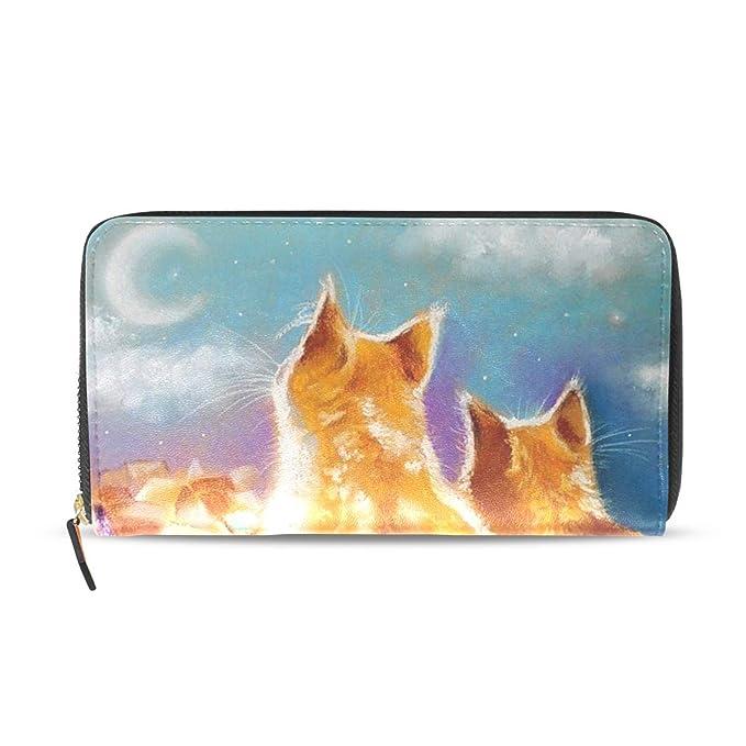 Amazon.com: Cartera de pintura al óleo para gatos, piel ...