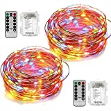 2 Set Led String Lights Battery Operated Fairy Lights with Remote Timer Copper Wire String Lights 8 Modes 5M 50 LED Starry String Lights for DIY Project Festival Party Garden Centerpiece Girls Bedroom Christmas Decoration-Multi Col