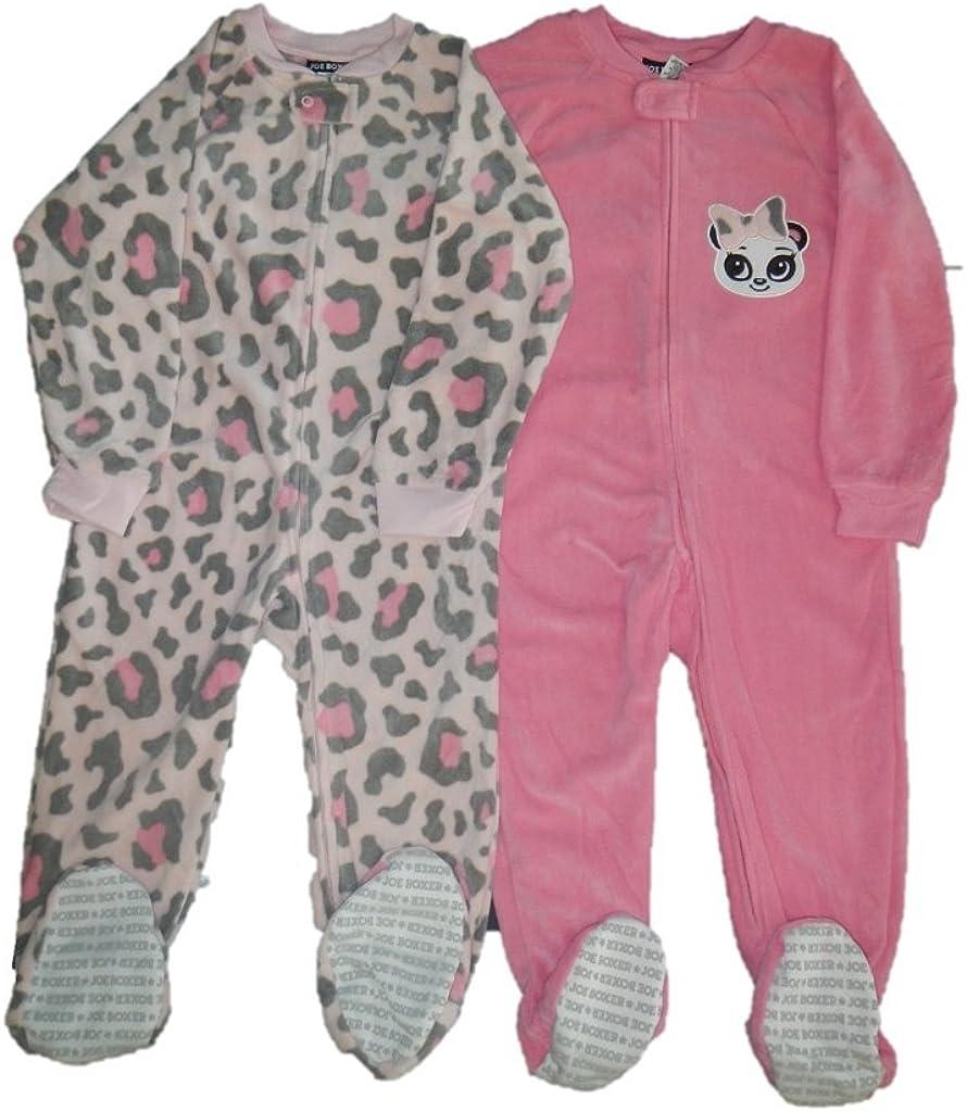 Schlafanzug Fleece 2-er Pack Einteiler mit F/ü/ßen Pyjama Winter Nachtw/äsche warm