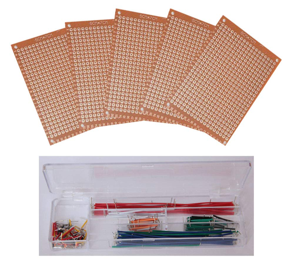 TEKTRUM 5 PIECES OF SOLDERABLE 2 x 2.75 inch EXPERIMENT FR4 PCB BREADBOARD, PLUS 140 PIECES OF PRE-FORMED SOLID MALE-TO-MALE JUMPER WIRE FOR PROTO-TYPING CIRCUIT/ARDUINO by Tektrum