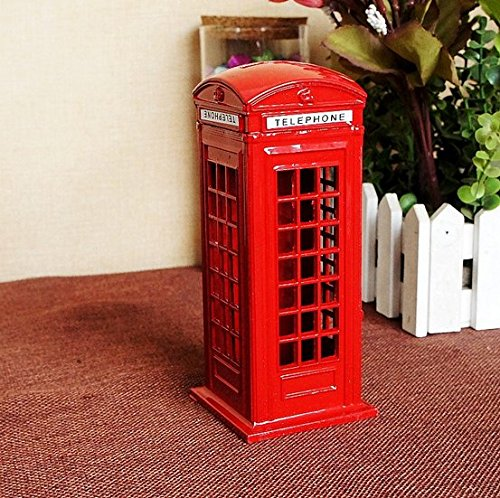 BeeSpring Attractive Metal Alloy Money Coin Spare Change London Street Red Telephone Booth Bank (Spare Change)