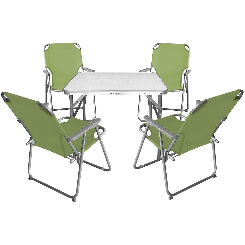 Multistore 2002 5tlg. Campingmöbel Set Klapptisch, Aluminium, 55x75cm + 4X Campingstuhl mit Armlehnen, klappbar, Jade Grün/Campinggarnitur