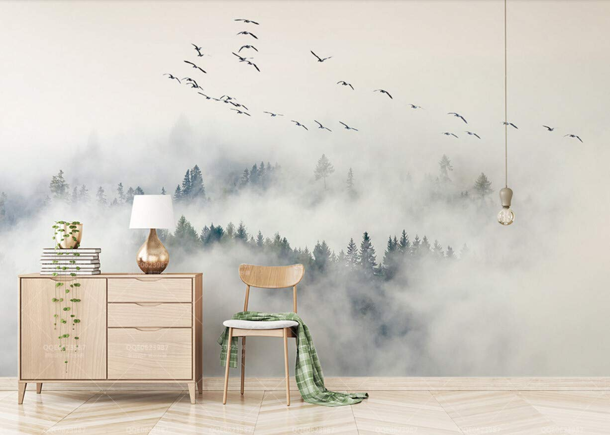 Fototapete 3D Tapete Skandinavische Vögel Und Kiefern Kiefern Kiefern Wolken Und Nebel - Wand Im Hintergrund 3D Effekt Vliestapete Wandbilder Wanddeko B07LB23YWJ Wandtattoos & Wandbilder 9f07a2