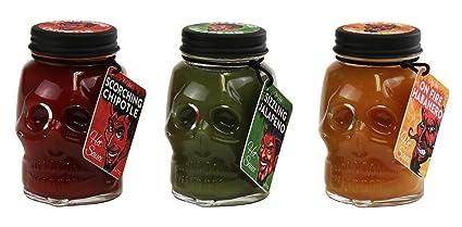 Juego de 3 salsas picantes con vaso en forma de calavera, 150 mm cada botella