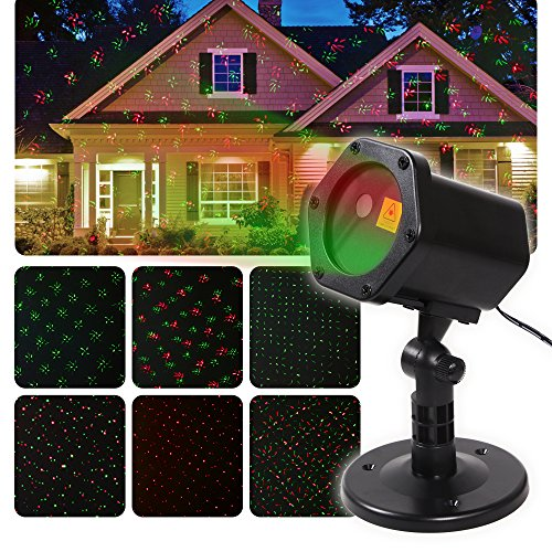 Christmas Projector Lights-12 Pattern IP65 Waterproof Outdoor Projection Lights for Christmas,Halloween Holiday Party and Various Parties with Different Atmosphere(Black-2)