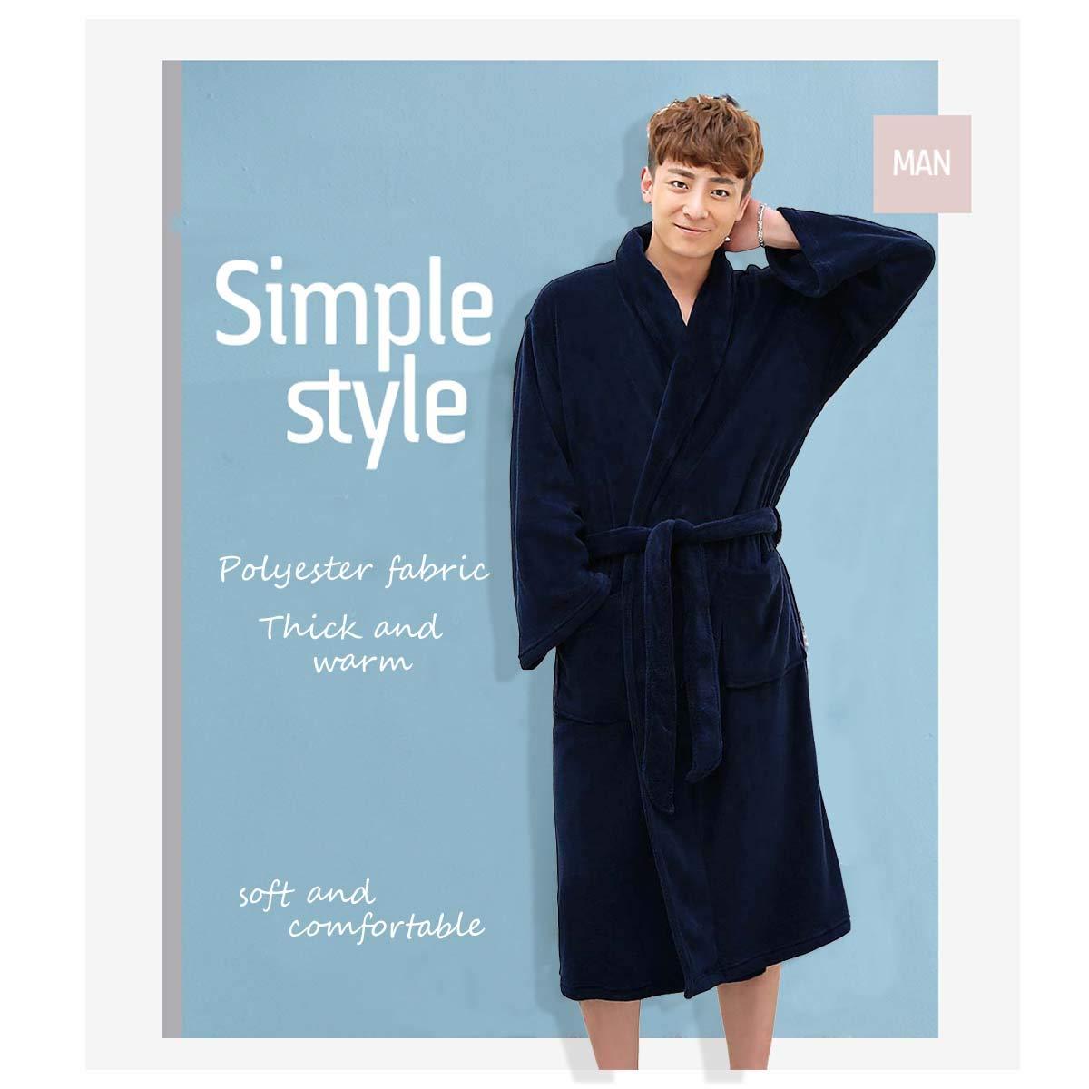 Men Plush Fleece Robe Kimono Bathrobe Soft Shawl Collar Warm Sleepwear Dressing Gown