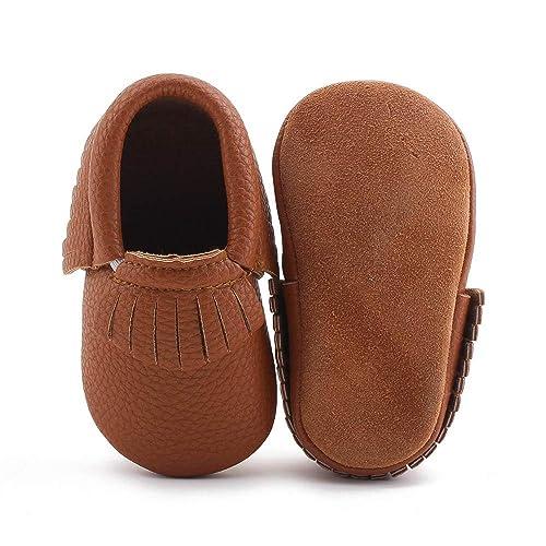 the latest 1e9ab f4763 DELEBAO Babyschuhe Krabbelschuhe Lederschuhe Leder Baby Schuhe  Lauflernschuhe Lederpuschen Weicher und Rutschfester Sohle für Kleinkind
