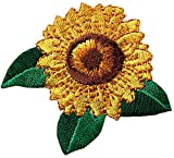 [2 Count Set] Custom and Unique (2.25'' x 2.25'' Inch) ''Nature'' Bright Detailed Sunflower Summer Garden Flower Design Iron & Stick On Adhesive Embroidered Applique Patch {Yellow, Green & Brown Colors}