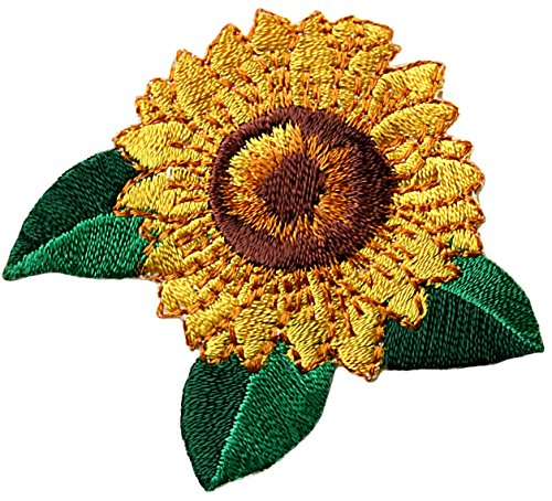 [2 Count Set] Custom and Unique (2.25'' x 2.25'' Inch) ''Nature'' Bright Detailed Sunflower Summer Garden Flower Design Iron & Stick On Adhesive Embroidered Applique Patch {Yellow, Green & Brown Colors} by mySimple Products