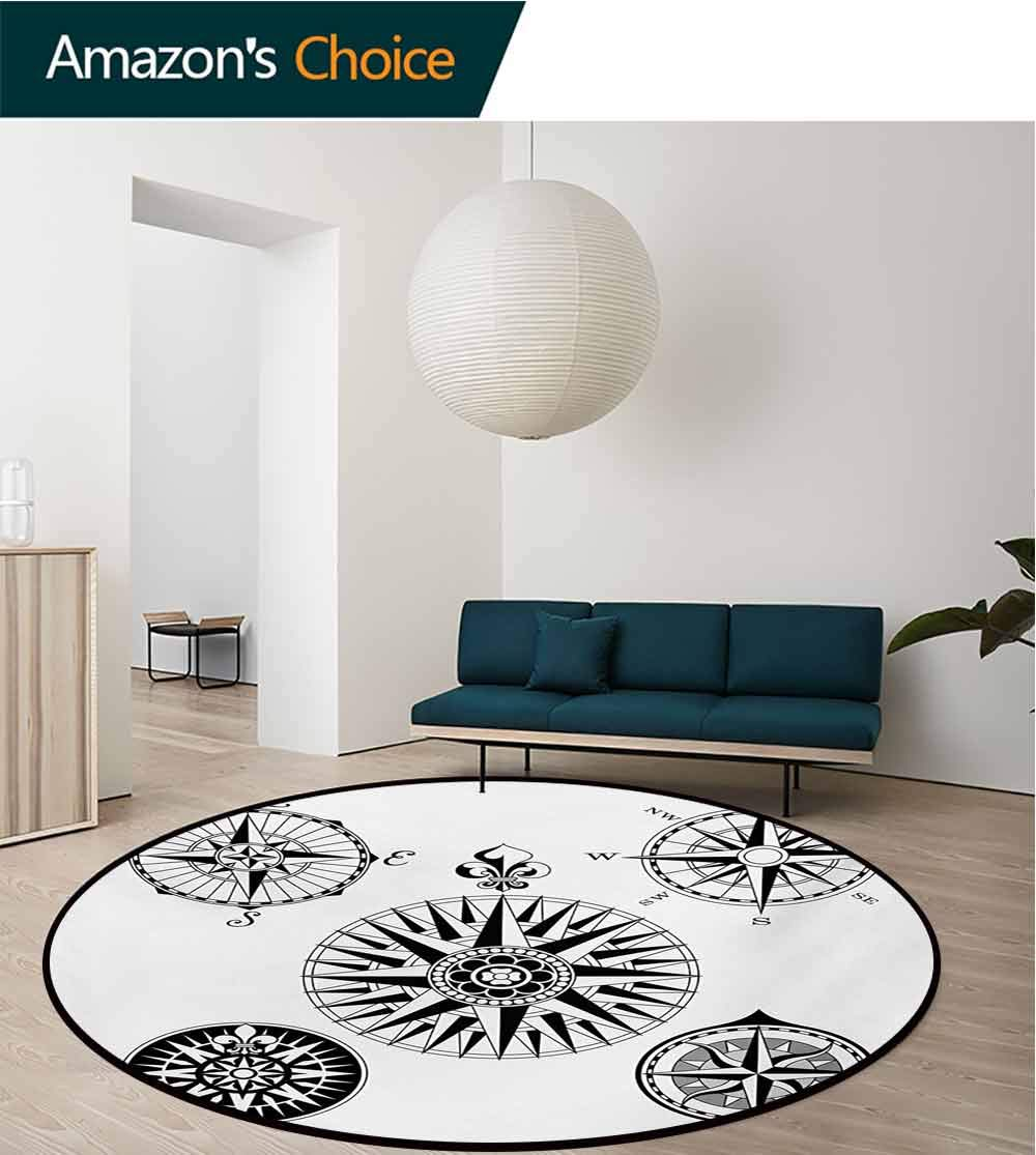RUGSMAT Compass Modern Machine Washable Round Bath Mat,Highly Detailed Five Windroses Compass Angles Directions Navigation in The Sea Non-Slip Soft Floor Mat Home Decor,Diameter-51 Inch