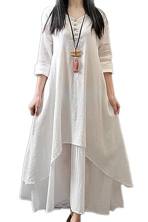 5c3839f989b Women Linen Cotton Loose Maxi Dress Swing Hemp Dresses Plus Size  Amazon.co. uk  Clothing