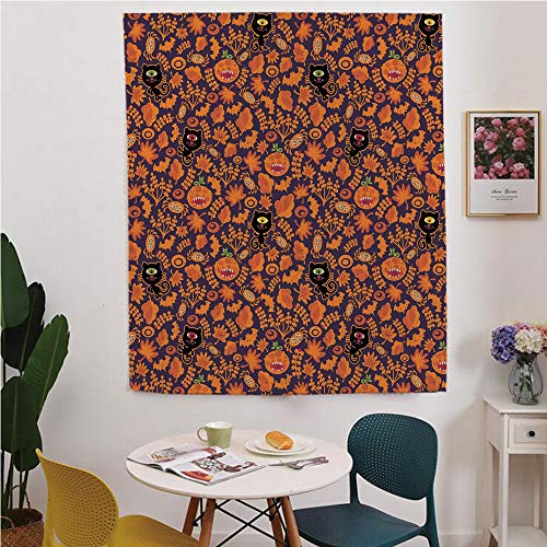 Vintage Halloween Blackout Window curtain,Free Punching Magic Stickers Curtain,Halloween Themed Elements on a Purple Background Scary Mosters Decorative,for Living Room,study, kitchen, dormitory, -