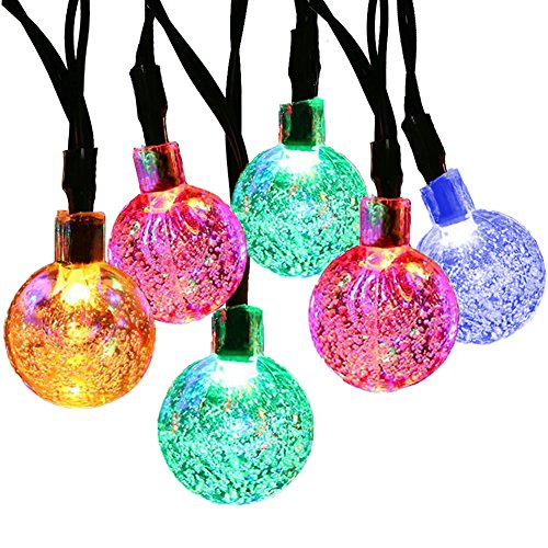[[21ft 30 Led] Solar String Lighting\ Fairy Crystal Ball Outdoor Yard Lights String for Patio Decoration Halloween, Waterproof, Garden, Fence, Christmas Party/ 8 Mode (Steady, Flash) (Multi] (Halloween Yard)