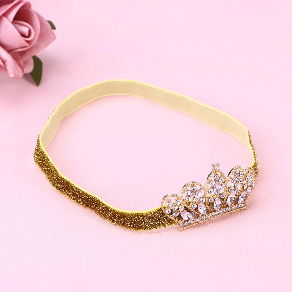 Golden Ribbon, Golden Crown Baby Girls strass corona fascia bella elastico Hairband accessori per capelli copricapo
