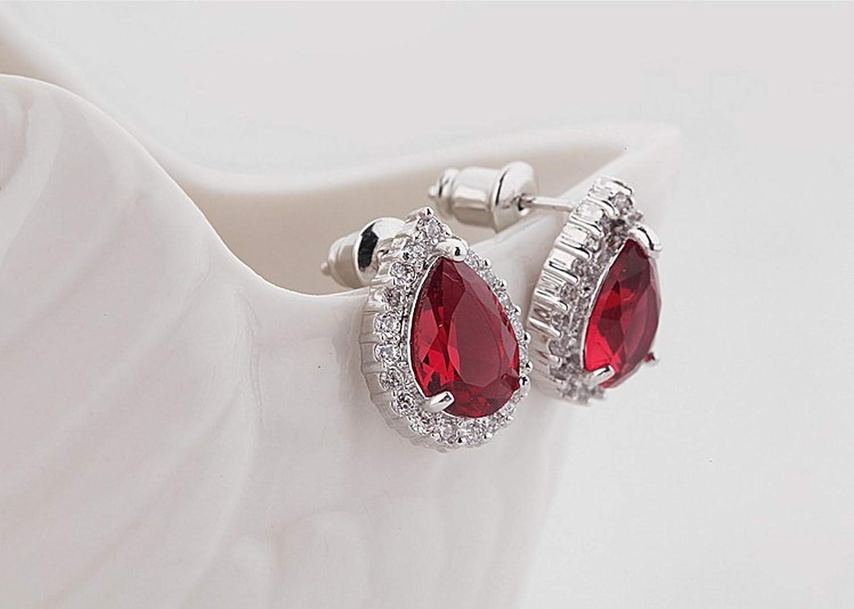 CS-DB Silver Trendy Bridal Round Teardrop Red Cubic Zirconia Dinner Party Stud Charm Earrings