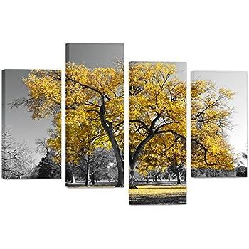 Visual Art Decor Modern Black And White Canvas Wall Art Giclee Prints  Autumn Landscape Yellow Tree