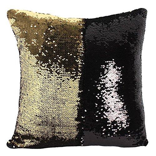 Luxe - negro y dorado Reversible lentejuelas Cojín con ...
