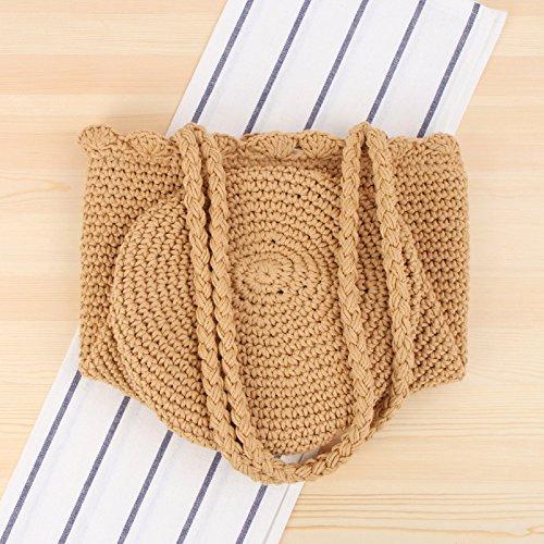 Brown Leisure Holiday Hand Beach Wild Gaoqq Belt Cotton Series Brown Woven Shoulder Rope Sen Bag Pqwn60qa