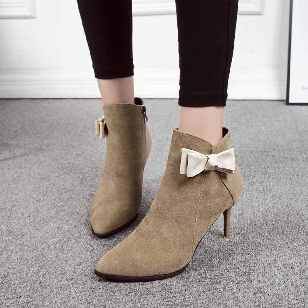 Stiefel Stiefeletten Kurz Stiefeletten Schuhe Winterstiefel Schlupfstiefel Spitze Warm Spitze Schlupfstiefel Kurze Chelsea Chelsea-Stiefel Damenschuhe ZHAOYONGLI (Farbe   Khaki, größe   39 (24.5cm)) b2d387