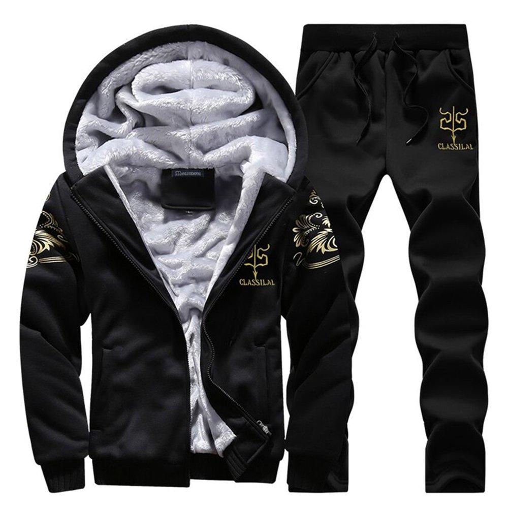 Men's Winter Fleece Tracksuit Soft Thick Hooded Jogging Sweat Suits Warm Coats Black-M