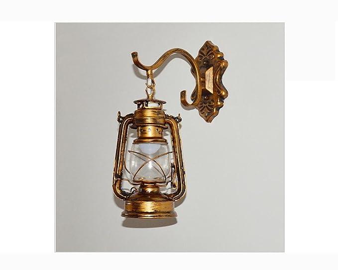 Xc vintage retro ferro bronzo lanterna cherosene lampada da