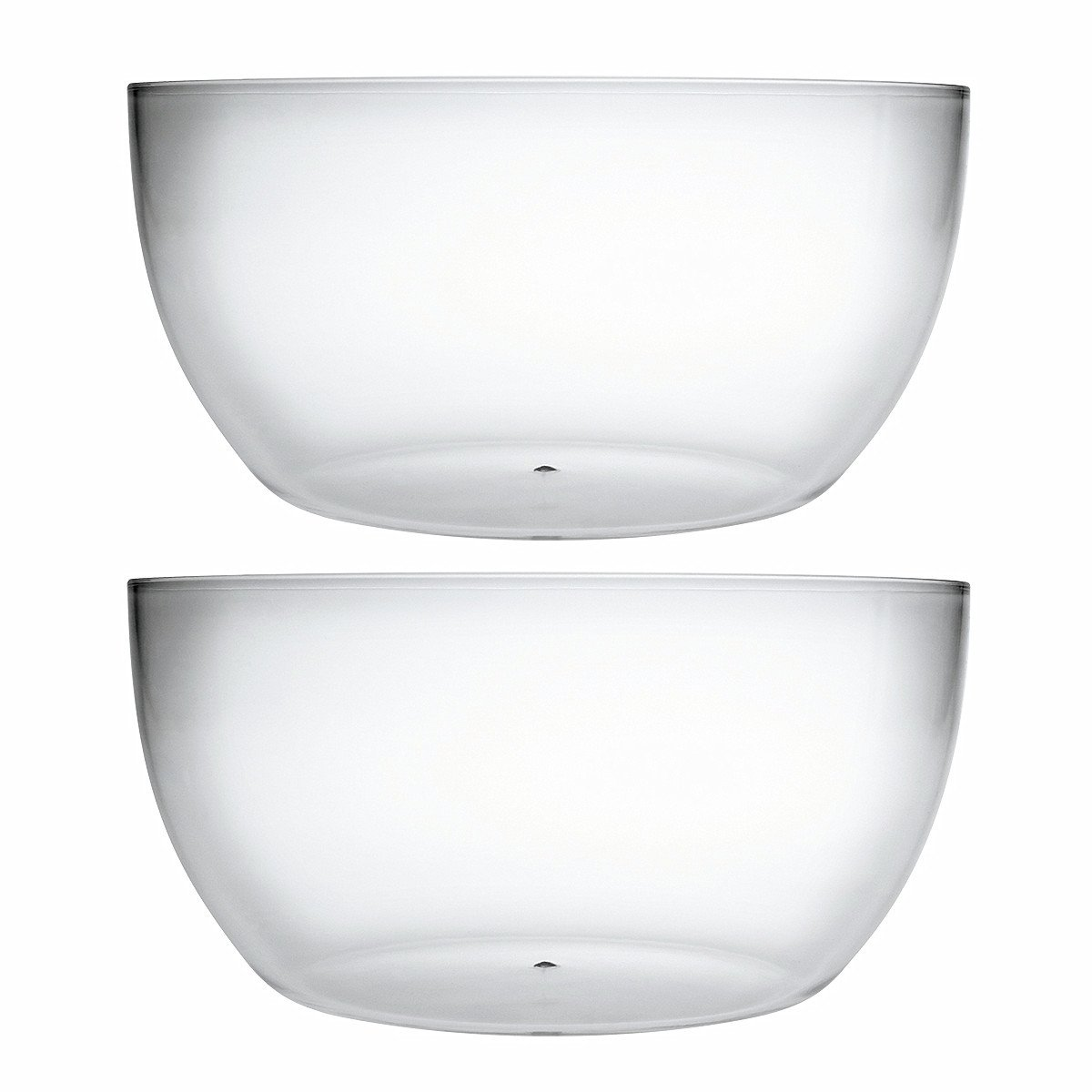 Large Acrylic Mixing And Serving Bowls, Great for Serving Salad, Popcorn, Chips, Dips, Condiments, Break-Resistant Set of 2 Clear 146 oz Bekmore mb08013