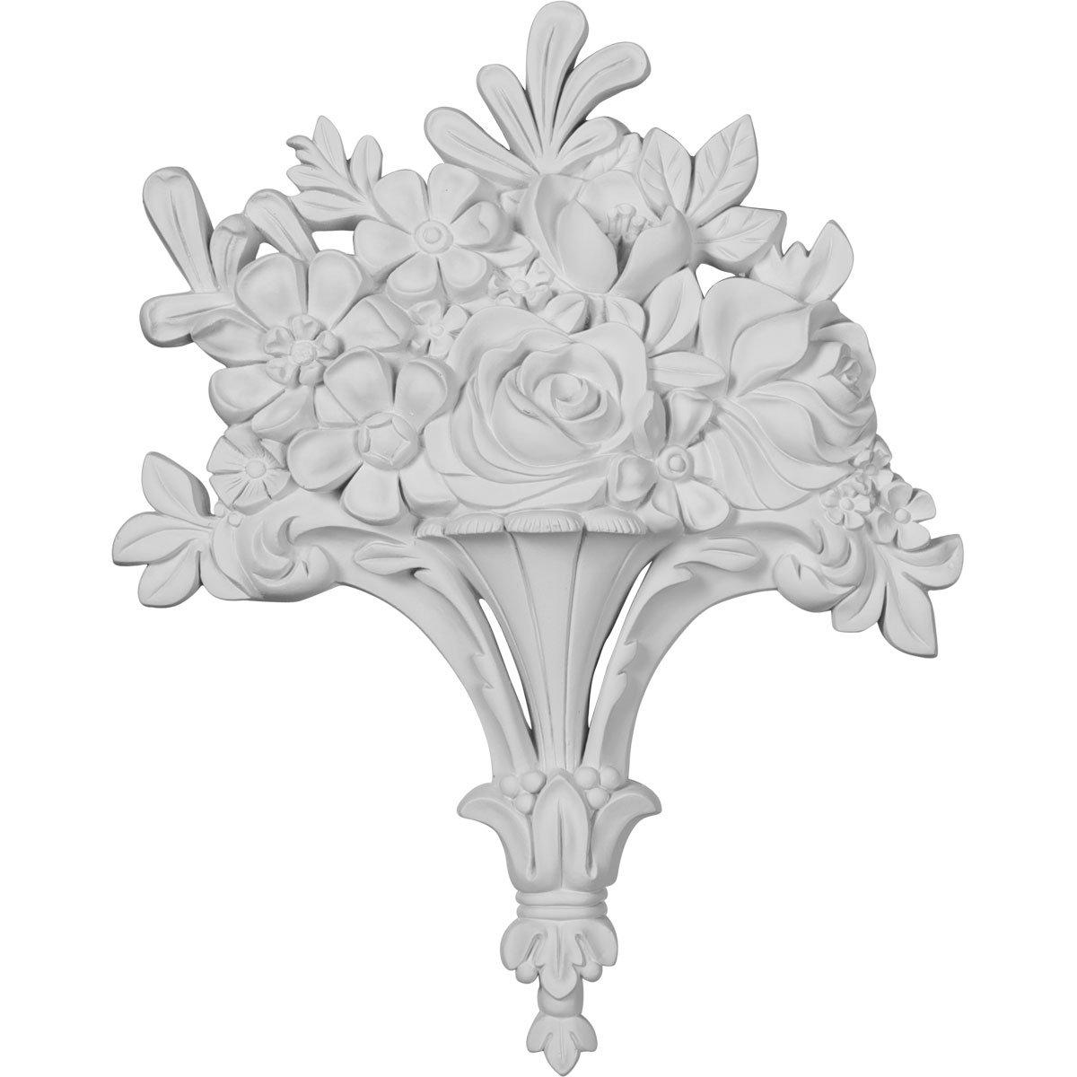 Ekena Millwork ONL10X13X01FB 10 5//8-Inch W X 13 1//4-Inch H X 1 3//4-Inch P Flower Basket Center Onlay