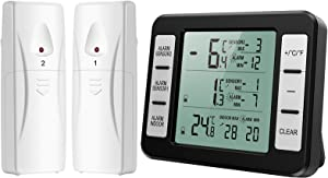 (New Version) AMIR Refrigerator Thermometer, Wireless Indoor Outdoor Thermometer, Sensor Temperature Monitor with Audible Alarm Temperature Gauge for Freezer Kitchen Home (Battery not Included)
