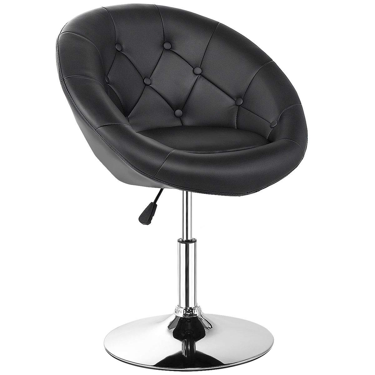 Costway Swivel Accent Chair, Contemporary Tufted Round-Back Tilt Chair with Chrome Frame, Height-Adjustable Modern for Lounge, Pub, Bar, Black by COSTWAY